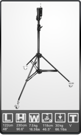 KUPO Stativ teleskopický 228MB Master Combo Stand - BLACK POWDER COATED STEEL